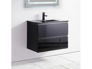 Meuble de salle de bain 2 Tiroirs - Noir - Vasque - 80x46 cm - Dark