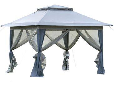 Tonnelle barnum de jardin pop-up pliant 3,64L x 3,64l x 2,94H m acier polyester moustiquaires + sac de transport à roulettes gris