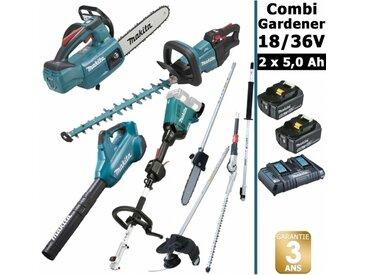 Pack 18/36V Combi Gardener: outil multifonction avec 4 accessoires + tronçonneuse 18V 25cm + taille haie 18V 50cm + souffleur 36V + 2 batt 5Ah MAKITA DUX60 DUC254 DUH502 DUB362