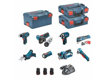BOSCH Kit 12V BMK8-28ED3 (GSR 12V-15 + GDR 12V-105 + GWB 12V-10 + GWS 12V-76 + GOP 12V-28 + GSA 12V-14 + GLI 12V-80 + GHO 12V-20 + 3 x 2,0 Ah + GAL1230CV + L-Boxx 102 + L-Boxx 136 + L-Boxx 238)