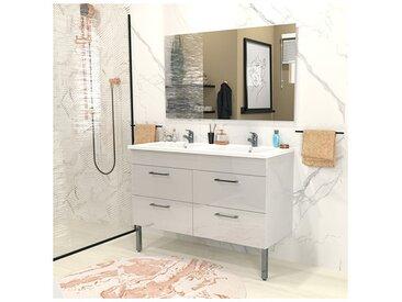 Ensemble meuble sous-vasque + vasque résine + miroir MILANO / Blanc