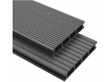 Panneaux de terrasse avec accessoires WPC 20 m² 2,2 m Gris