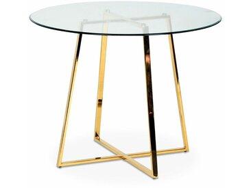 Table verre et pieds métal chromé doré Frank