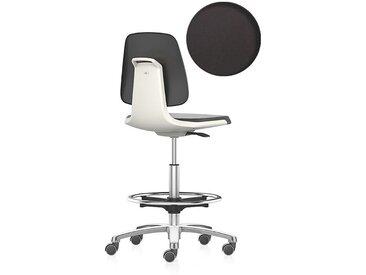 bimos Siège d'atelier, siège haut avec roulettes blocables et repose-pieds circulaire assise à habillage similicuir,