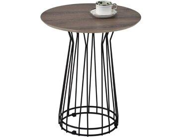 Table d'appoint IVETTE table basse de salon ronde table à café bout canapé style industriel, en métal noir et MDF chêne sonoma