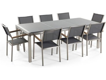 Table de jardin en acier inox et 8 chaises en textile
