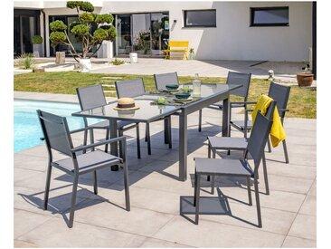 Ensemble table de jardin _ rallonge 135/270 cm + 6 chaises et 2 fauteuils en aluminium et textilene - GRIS ANTHRACITE