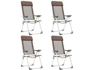 Hommoo Chaises de camping pliables 4 pcs Marron Aluminium