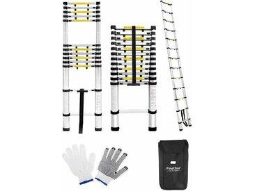 Finether 3.8M Échelle Télescopique Portable et Pliante Echelle Multi-Fonction avec Espaces de Protection, 13 Echelons Escamotable Polyvalent Robusteen Aluminium, Certifié EN131, Capacité 150 Kg