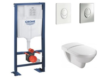 Jacob Delafon - Cuvette wc PMR Odeon Jacob Delafon + abattant + bati support GROHE + plaque de commande , plaque chromee