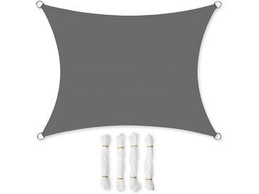 2 x 3m Voile d'ombrage, Hydrofuge, 93% de Protection UV, en Polyester résistant à la déchirure, résistant aux intempéries, pour terrasse, Jardin, Camping, Anthracite GSH23BK