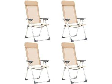 Chaises de camping pliables 4 pcs Crème Aluminium