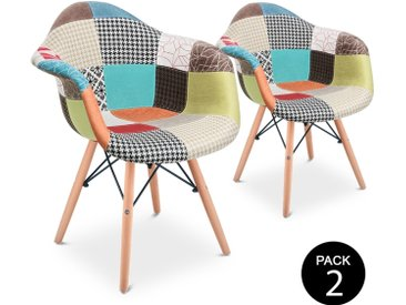 Pack 2 vintage chaise design Patchwork multicolore -McHaus