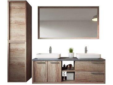 Meuble de salle de bain Vermont 150cm lavabo nature wood – Armoire de rangement Meuble lavabo miroir