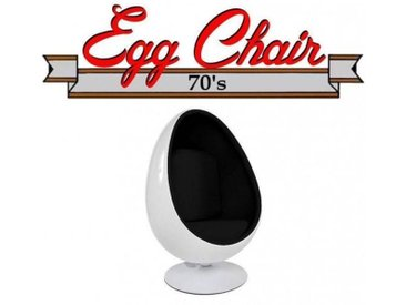 Fauteuil pivotant Oeuf, Egg chair coque blanche / intérieur velours noir. Design 70's.