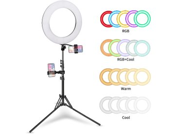 """ANTEN 14""""Anneau Lumineux Réglable 3200K-6500K 45W Professionnels LED Lumière Anneau avec un miroir pour Self-Portrait Youtube Maquillage Photographie"""