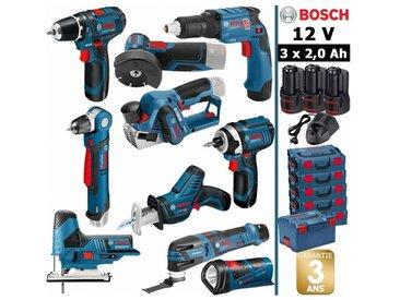 Pack 12V 10 outils: Perceuse GSR 12V-15 + Perceuse d'angle GWB 12V-10 + Visseuse plaquistes + Rabot + Meuleuse + Visseuse + Scie circulaire + Scie sabre + Découpeur + Lampe + 3 batt 2Ah BOSCH