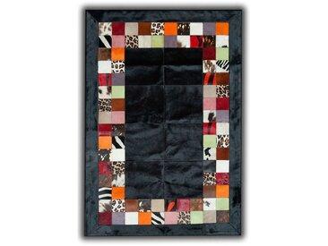 Tapis noir façon patchwork en peau de vache Santander Noir 180x240 - Noir