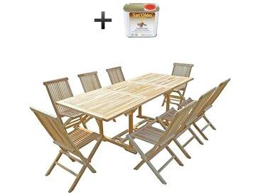 Ensemble salon de jardin en teck AMARA 8 chaises - Bundle huile