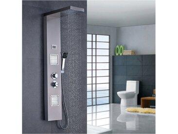 Set Colonne de douche Showerpipe Thermostatique et sa douchette Carré inox Écran de douche Affichage de la température de l'eau Ensemble de douche