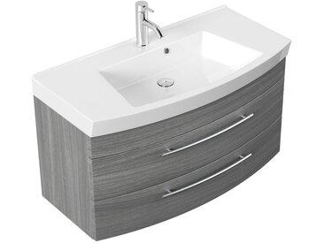 Meubles de salle de bain Bella 100cm avec façade arrondie en décor chêne argenté
