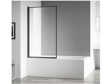 Badplaats - Pare baignoire Fes 80x140cm nano revêtement verre transparent profilé noir - Noir