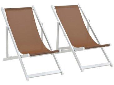 Chaises de plage pliables 2 pcs Aluminium et textilène Marron