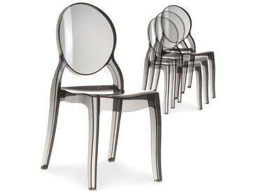 Lot de 4 chaises médaillon Diva Plexi Transparent Fumé