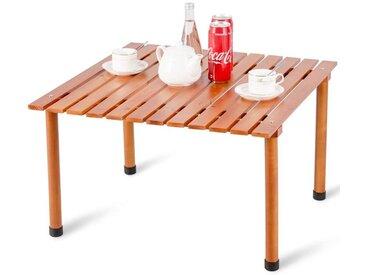 COSTWAY Table de Camping en Bois Pliante d'Intérieur et d'Extérieur, Table de Pique-Nique Portable avec Sac de Transport Fait en Bois de Sapin Massif 70 cm x 69 cm x 42 cm