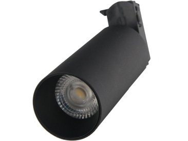 Spot LED sur rail 18W 38° Monophasé NOIR - Blanc Chaud 2300K - 3500K