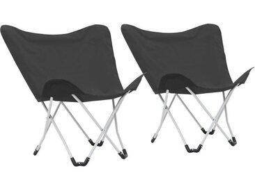 Chaise de camping pliable Forme de papillon 2 pcs Noir