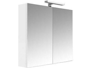 Allibert - Armoire de toilette éclairante 80 cm 2 portes miroirs Blanc brillant prise UTE - JUNO