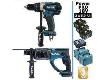 Pack Power PRO 18V: Perceuse 91Nm DDF458 + Perforateur 2J DHR202 + 3 batt 5Ah + 2 Coffrets Makpac MAKITA