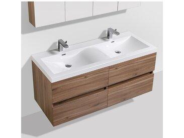 Meuble salle de bain design double vasque SIENA largeur 144 cm, noyer