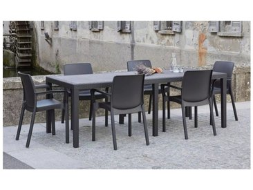 Table d'extérieur rectangulaire extensible, Made in Italy, 150 x 72 x 90 cm (extensible jusqu'à 220 cm), Couleur Anthracite - Dmora