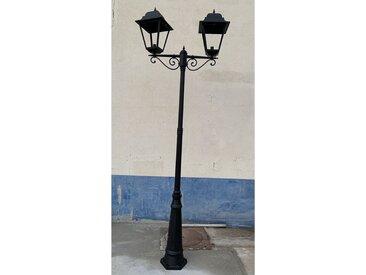 Lampadaire exterieur classique noir H3100mm 2 têtes lampe E27 (non incl) diffus verre IP44 MICHELANGELO SG LIGHTING 0302/22020