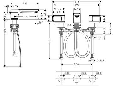 Hansgrohe Axor Urquiola mitigeur lavabo 3 trous DN15 avec rosaces - 11041000