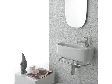 Ceramica Globo - Lavabo suspendu GENESIS, en céramique blanc brillant. Design minimaliste chic (code GE046.BI)