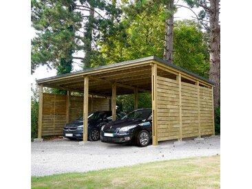 Cerland - MADEIRA- Carport en bois traité autoclave classe 4 marron, toit en acier galvanisé + gouttière, 2 voitures, 40,14m²avec panneaux latéraux - en pin sylvestre bois - qualité garantie- dimension extérieur : 685 X 586cm, Hauteur 280 cm- Shelty + 2