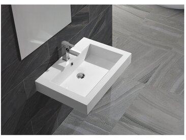Vasque semi encastrée ou à suspendre rectangle en solid surface blanche Empezo 58