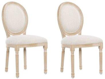 Lot de 2 chaises médaillon VERSAILLES style louis XVI lin beige et chêne clair vieilli