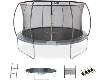 Trampoline rond Ø 430cm gris avec filet de protection intérieur et accessoires - Venus Inner XXL