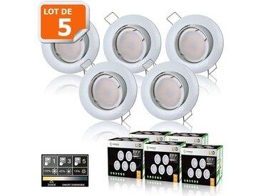 5 SPOTS LED DIMMABLE SANS VARIATEUR 7W eq.56w BLANC CHAUD ORIENTABLE FINITION BLANC