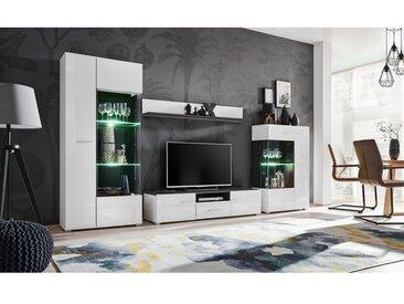 PALE | Unité murale style contemporain 4 pcs | Éclairage LED inclus | Mur TV | Ensembles meubles salon | Meuble bas TV | Blanc - Blanc