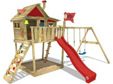 Aire de jeux WICKEY Smart Monkey avec toboggan rouge, bac à sable et balançoire