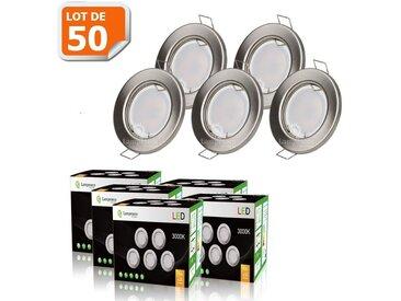 LOT DE 50 SPOT LED ENCASTRABLE COMPLETE RONDE FIXE ALU BROSSE eq. 50W BLANC CHAUD
