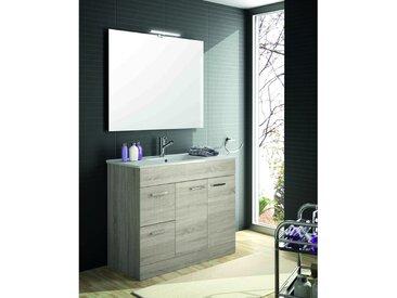 Meuble de salle de bain 100 cm Feros marron Caledonia avec lavabo | Avec miroir et lampe LED