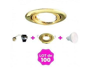 100 Spots encastrable orientable DORÉE avec GU10 LED de 7W eqv. 56W Blanc Chaud 3000K