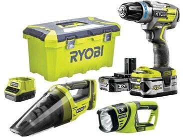 Perceuse-visseuse à percussion RYOBI 2 vitesses 18V ONEPLUS Brushless - Aspirateur à main - Lampe torche - 2 Batteries LithiumPlus 5,0 Ah et 2,0 Ah - 1 chargeur rapide R18PDBL-252VLT
