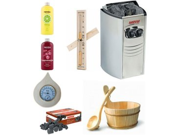 Kit complet sauna harvia 8 kw + aromathérapie seau louche thermometre hygrometre sablier en bois et pierres volcaniques 20kg